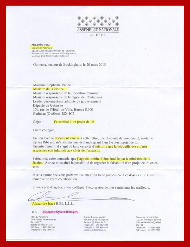 Lettre député Papineau 2015