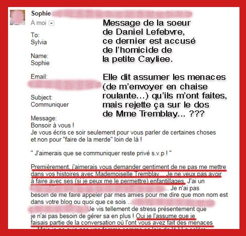 Sophie Lefebvre avoue menaces 2